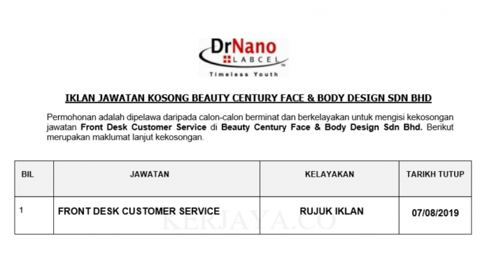 Beauty Century Face & Body Design ~ Front Desk Customer Service