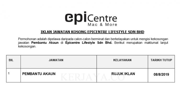 Epicentre Lifestyle ~ Pembantu Akaun