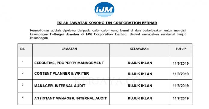 IJM Corporation Berhad ~ Eksekutif , Pengurus & Pelbagai Jawatan Lain