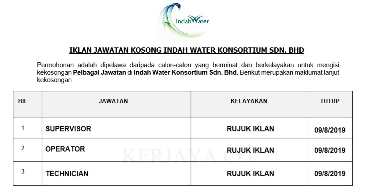 Jawatan Kosong Terkini Indah Water Konsortium Supervisor Operator Dll Kerja Kosong Kerajaan Swasta