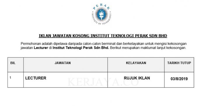 Institut Teknologi Perak ~ Lecturer
