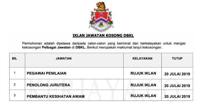 Jawatan Kosong Dewan Bandaraya Kuala (DBKL)