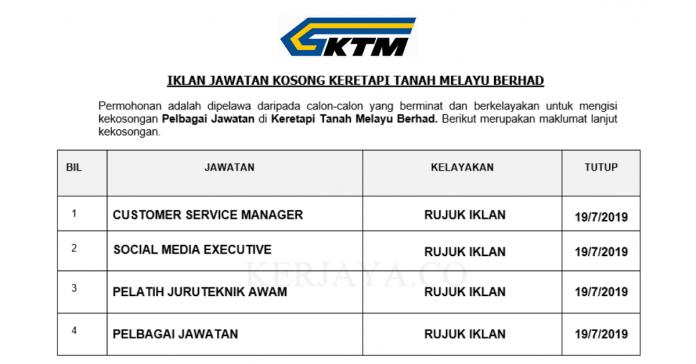 Keretapi Tanah Melayu Berhad ~ Pelbagai Jawatan Baru 2019
