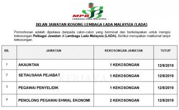 Lembaga Lada Malaysia (LADA) ~ Setiausaha Pejabat, Pegawai Penyelidik, & Pelbagai Jawatan