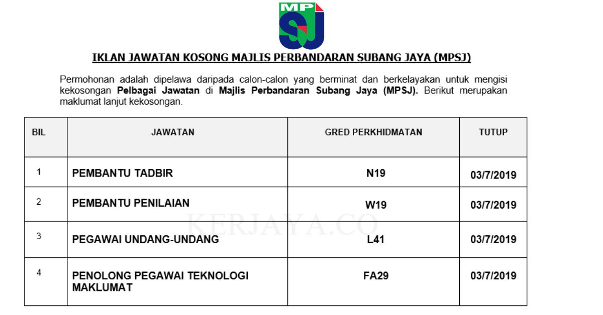 Jawatan Kosong Terkini Majlis Perbandaran Subang Jaya Mpsj Pembantu Tadbir Pembantu Penilaian Pegawai Undang Undang Dll Kerja Kosong Kerajaan Swasta