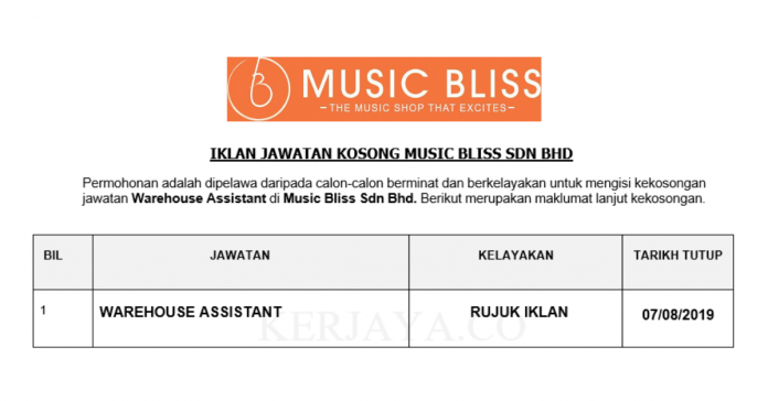 Music Bliss ~ Warehouse Assistant