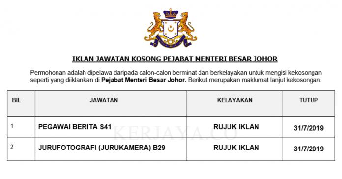 Pejabat Menteri Besar Johor ~ Pegawai Berita & Jurufotografi