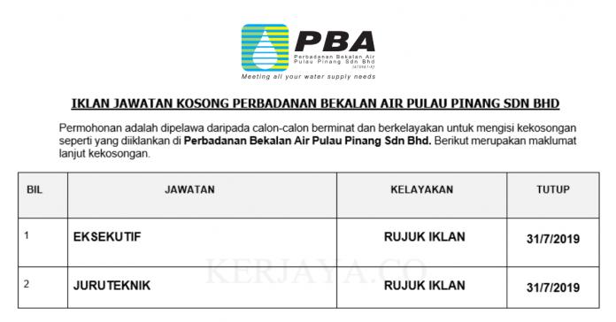 Perbadanan Bekalan Air Pulau Pinang ~ Eksekutif & Juruteknik