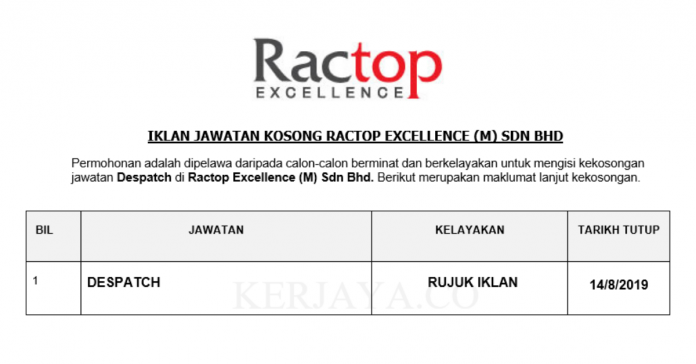 Ractop Excellence ~ Despatch