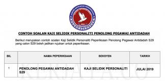 Soalan Kaji Selidik Personaliti Penolong Pegawai Antidadah S29