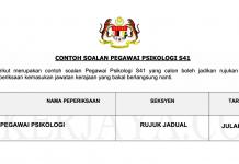 Soalan Pegawai Psikologi S41