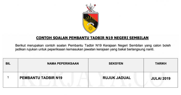 Contoh Soalan Pembantu Tadbir Negeri Sembilan