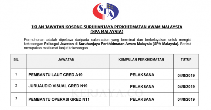 77 Kekosongan Jawatan SPA Malaysia