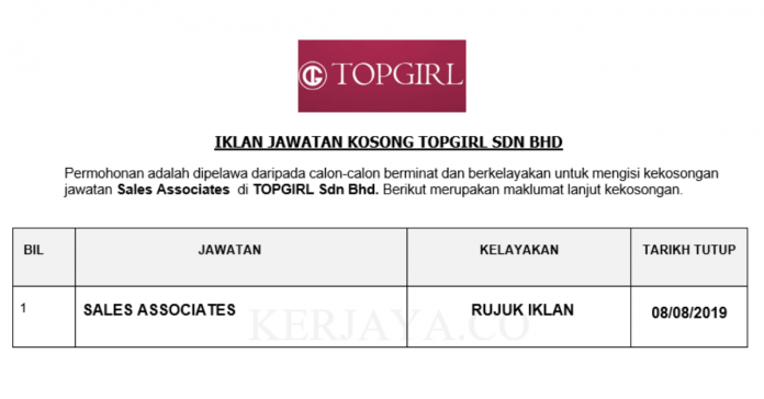 TOPGIRL ~ Sales Associates