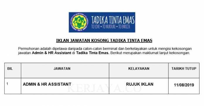 Tadika Tinta Emas ~ Admin & HR Assistant