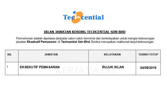 Techcential ~ Eksekutif Pemasaran