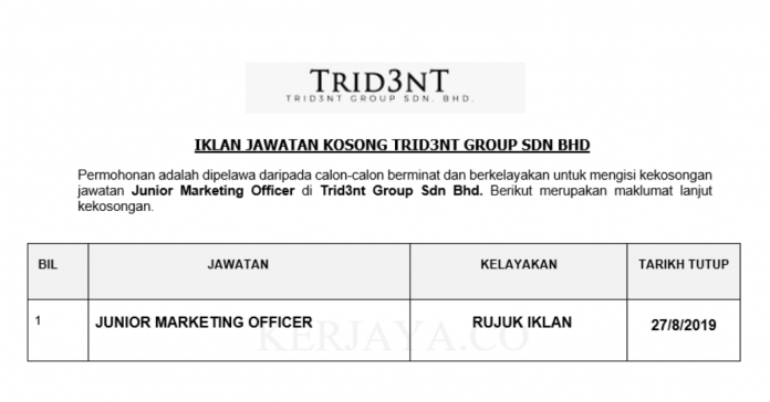 Trid3nt Group ~ Junior Marketing Officer