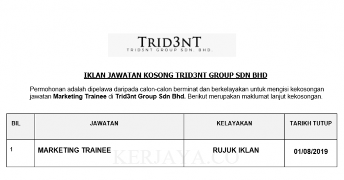 Trid3nt Group ~ Marketing Trainee