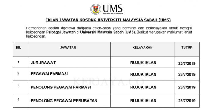 Universiti Malaysia Sabah (UMS) ~ Penolong Pegawai Farmasi, Penolong Pegawai Perubatan, Jururawat & DLL