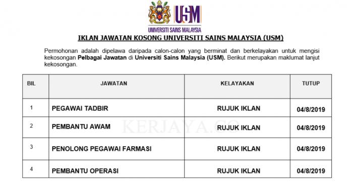 Universiti Sains Malaysia (USM) ~ Pegawai Tadbir, Pembantu Awam, Pembantu Operasi & Pelbagai Jawatan Lain