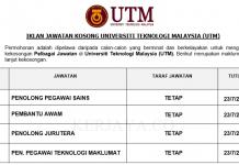 Universiti Teknologi Malaysia (UTM)~ Pembantu Awam, Penolong Pegawai Sains & Penolong Pegawai Teknologi Maklumat