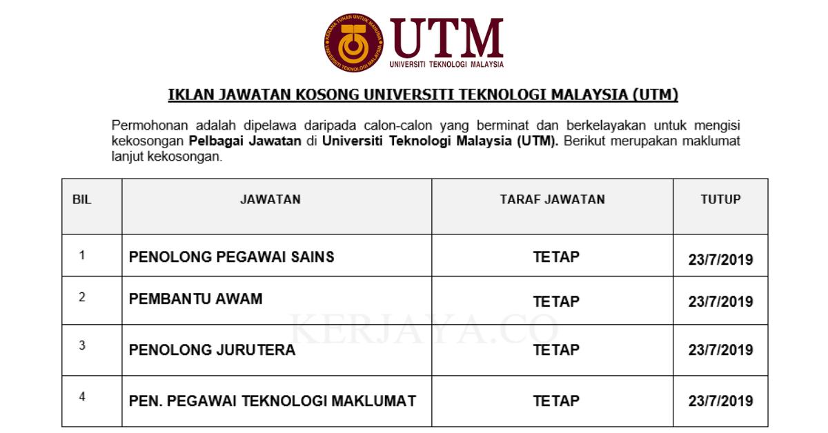 Jawatan Kosong Terkini Universiti Teknologi Malaysia Utm Pembantu Awam Penolong Pegawai Sains Penolong Pegawai Teknologi Maklumat Kerja Kosong Kerajaan Swasta