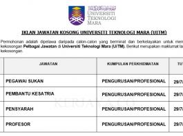 Universiti Teknologi Mara (UiTM) ~ Pegawai Sukan, Pembantu Kesatria, & Pelbagai Jawatan Lain