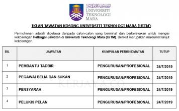 Universiti Teknologi Mara (UiTM) ~ Pembantu Tadbir & Pegawai Belia dan Sukan