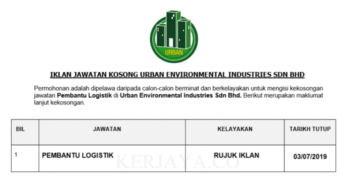Urban Environmental Industries ~ Pembantu Logistik