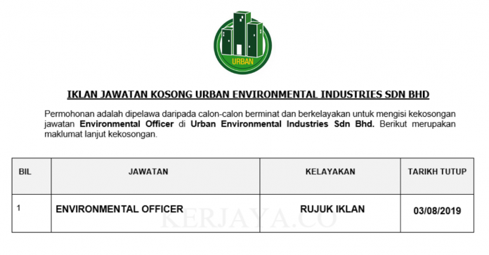 Urban Environmental Industries ~ Environmental Officer