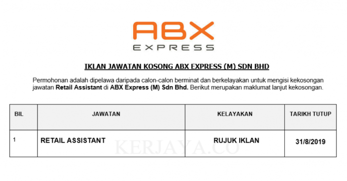 ABX Express ~ Retail Assistant