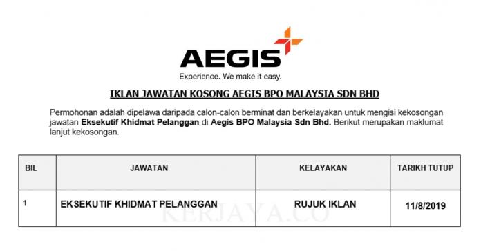 Aegis BPO Malaysia ~ Eksekutif Khidmat Pelanggan