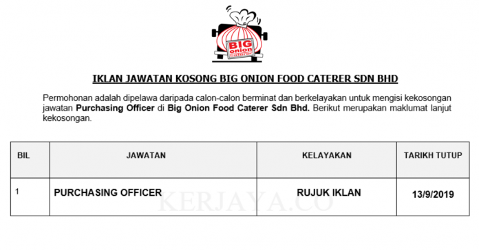 Big Onion Food Caterer ~ Purchasing Officer