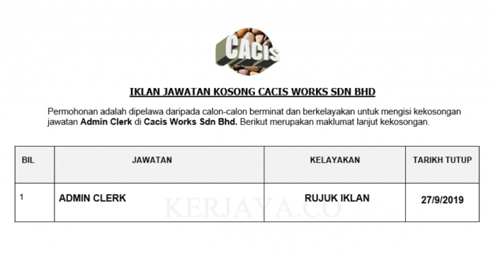 Cacis Works ~ Admin Clerk