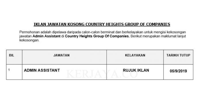 Country Heights Group ~ Admin Assistant
