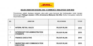 DHL Express (Malaysia) ~ Intern, Retail Sales, Finance Executive, Internship for Administration Students & Pelbagai Jawatan Lain