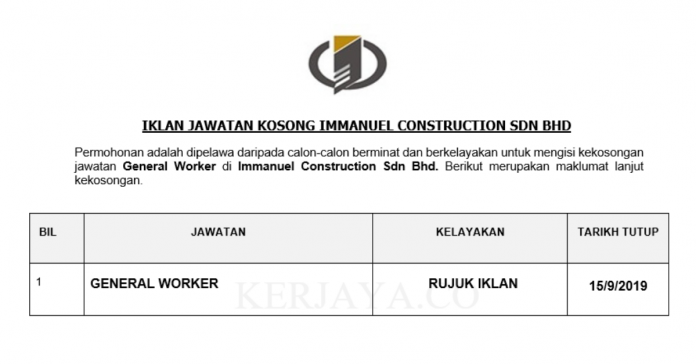 Immanuel Construction ~ General Worker