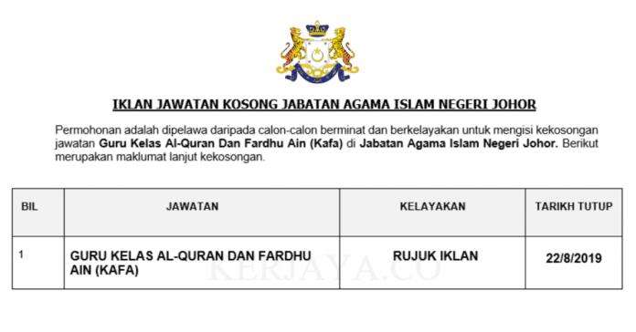Jabatan Agama Islam Negeri Johor ~ Guru Kafa