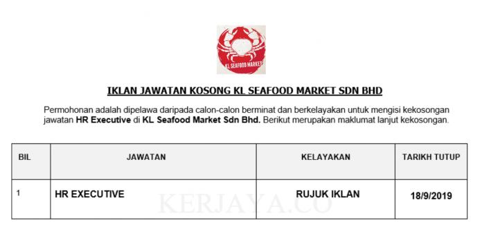 KL Seafood Market ~ Eksekutif Sumber Manusia