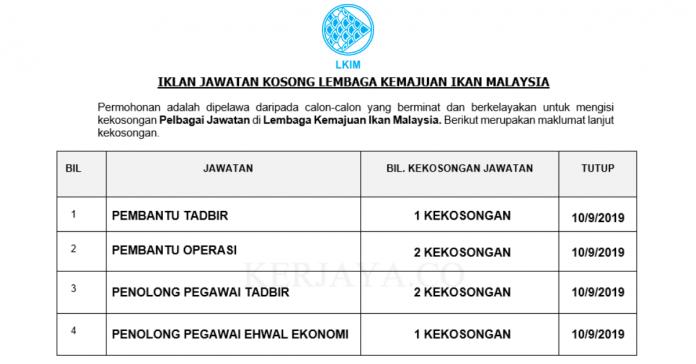 17 Kekosongan Jawatan Baru Lembaga Kemajuan Ikan Malaysia (LKIM)