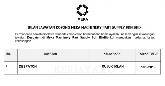 Meka Machinery Part Supply ~ Despatch