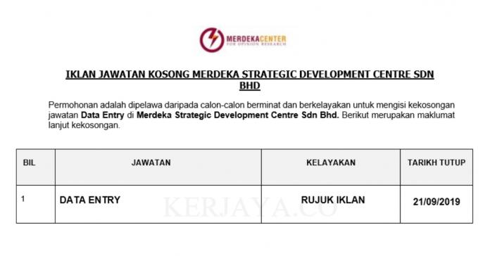 Merdeka Strategic Development Centre ~ Data Entry