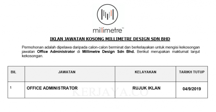 Millimetre Design ~ Office Administrator