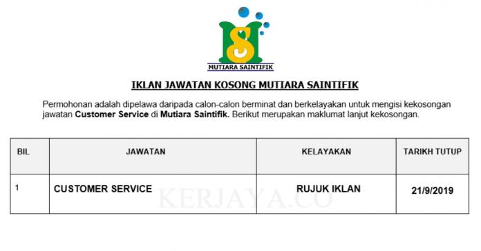 Mutiara Saintifik ~ Customer Service