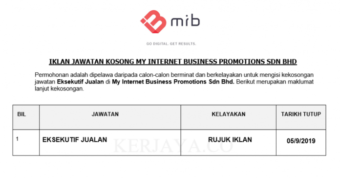 My Internet Business Promotions ~ Eksekutif Jualan