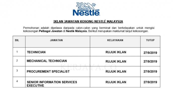 Nestlé Malaysia ~ Technician, Mechanical Technician, Senior Information Services Executive