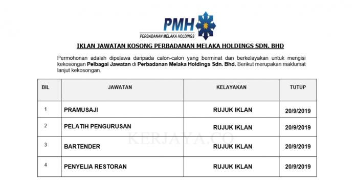Perbadanan Melaka Holdings ~ Pelbagai Kekosongan Jawatan