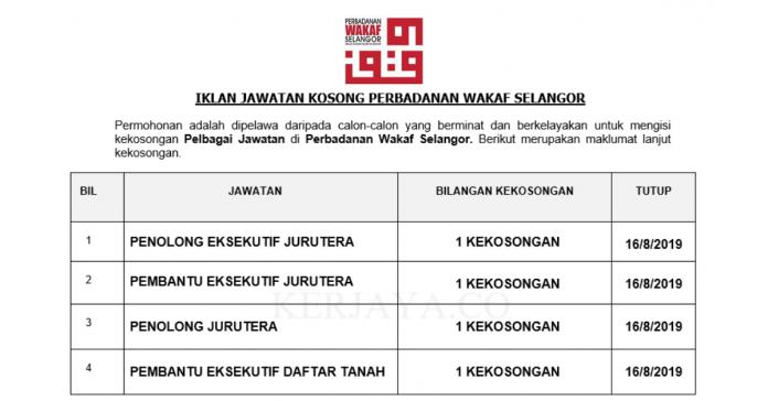 Perbadanan Wakaf Selangor ~ Pembantu Eksekutif & Penolong Eksekutif Jurutera