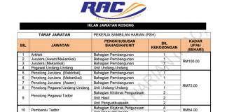 Permohonan Jawatan Kosong Terkini Perbadanan Aset Keretapi (RAC)