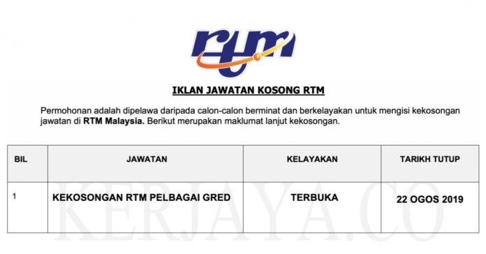 Permohonan Jawatan Kosong Terkini Radio Televisyen Malaysia (RTM)